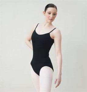 A picture of a ballerina in a leotard with tights.